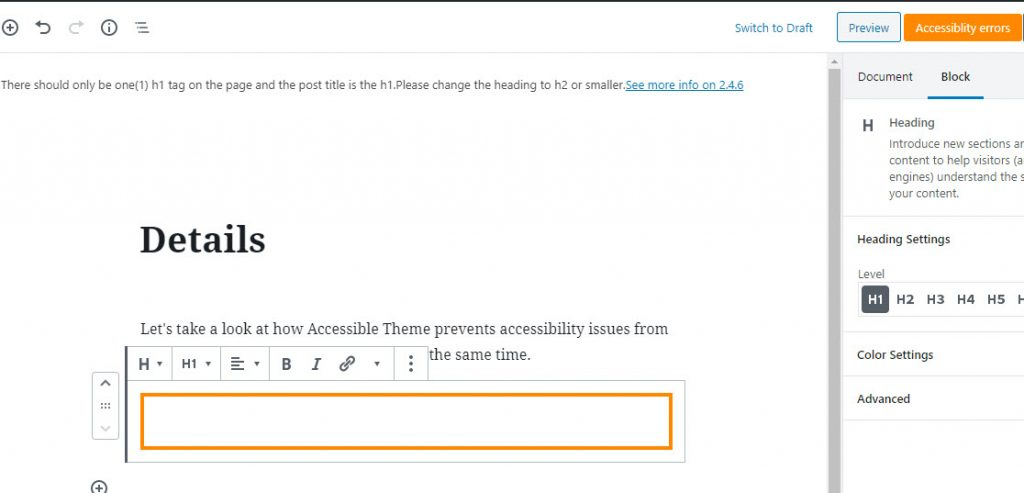 Accessible Theme dashboard shows an error when you try to publish a post with incorrect heading structure.